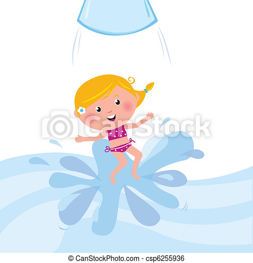 Happy smiling kid jumping from water slide tube / aqua park