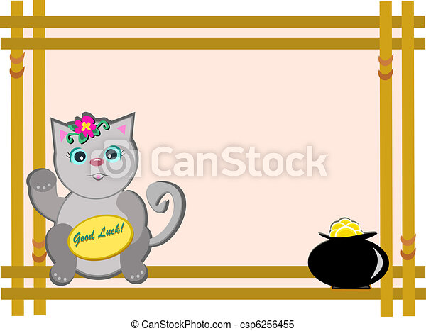 Clipart Vector of Frame with Good Luck Cat - Here is a very Lucky Cat ...