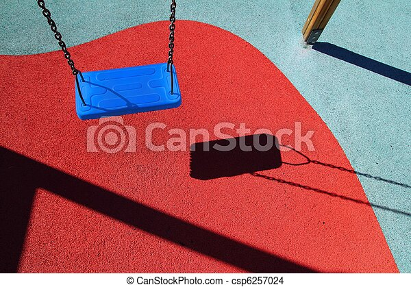 blue park swing or red floor children playground - csp6257024