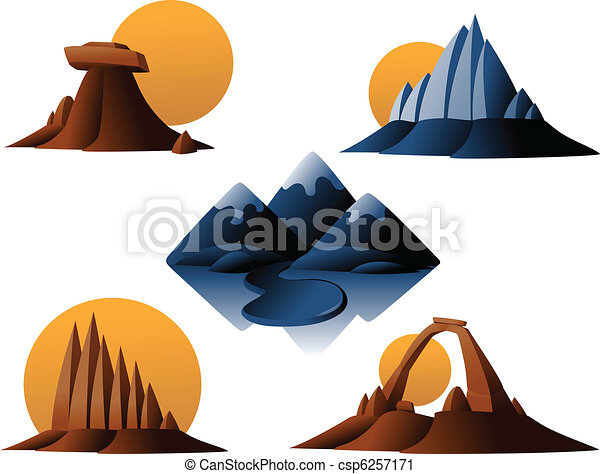 Mountain and Desert Icons - csp6257171