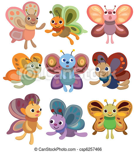 cartoon butterfly set icon - csp6257466