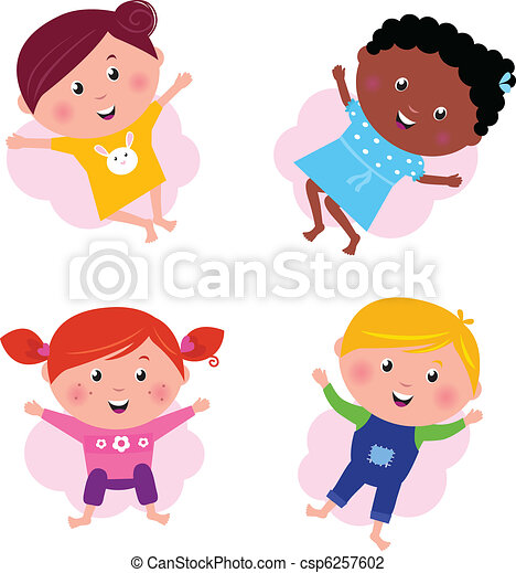 Multi cultural different jumping children - vector isolated on w - csp6257602
