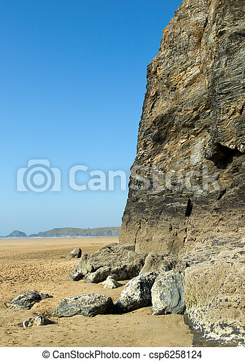 A big cliff eroded by the sea, Perran beach Cornwall UK. - csp6258124