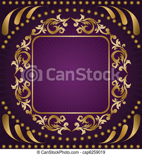 Gold ornament on a purple background - csp6259019