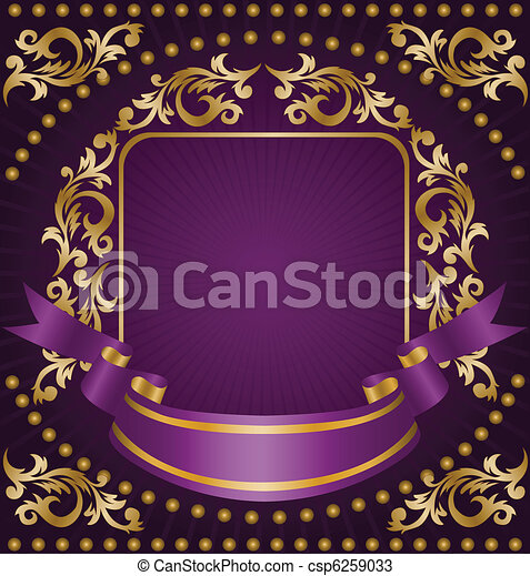 Gold ornament with a ribbon - csp6259033
