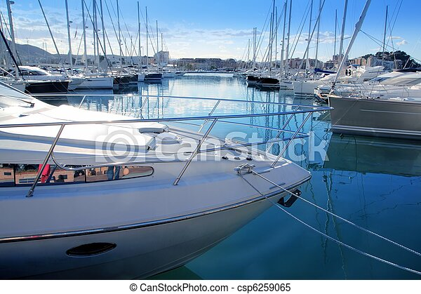 Boat mediterranean marina in Denia Alicante Spain - csp6259065