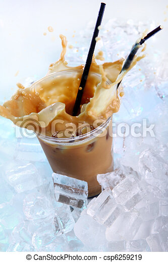 Cold coffee drink with ice and splashes - csp6259219