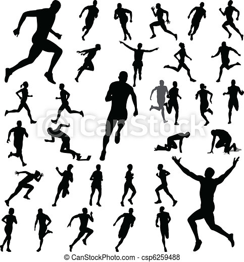 people running silhouettes - csp6259488