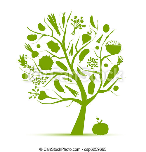 Healthy life - green tree with vegetables for your design - csp6259665