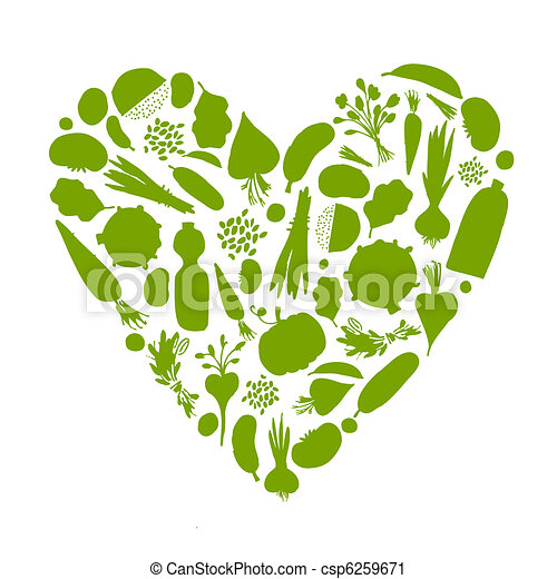 Healthy life - heart shape with vegetables for your design - csp6259671