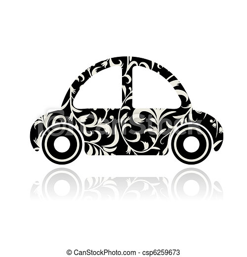 Vintage black car with floral ornament for your design - csp6259673