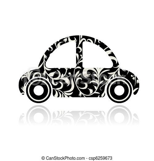 Vintage black car with floral ornament for your design  - csp6259673