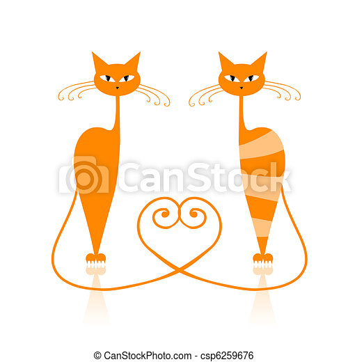 Graceful orange striped cat for your design  - csp6259676