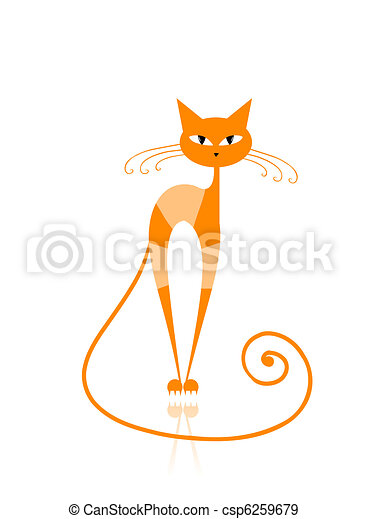Graceful orange striped cat for your design  - csp6259679