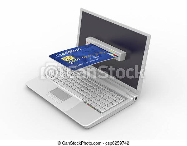 E-commerce. Laptop and credit card. - csp6259742