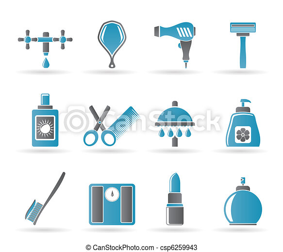 Personal care and cosmetics  icons  - csp6259943