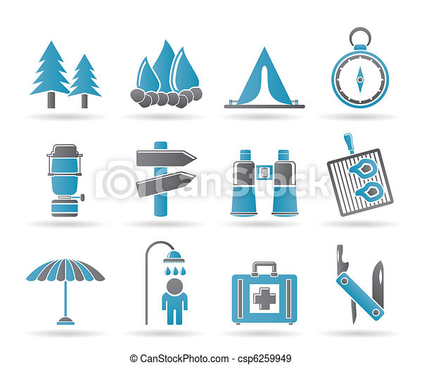 Camping, travel and Tourism icons - csp6259949