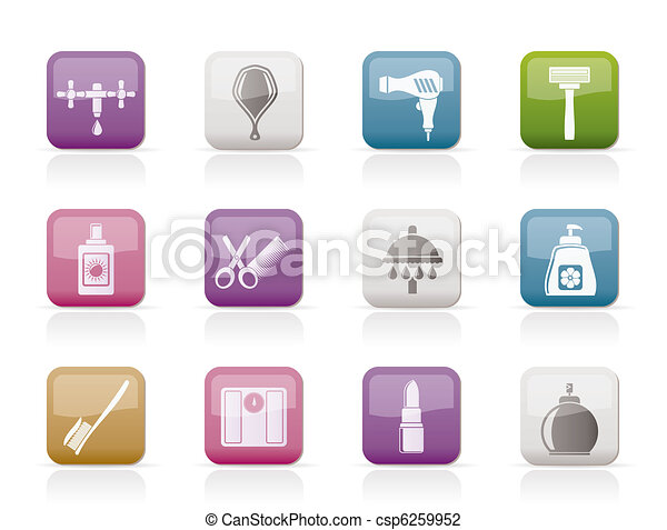 Personal care and cosmetics  icons - csp6259952