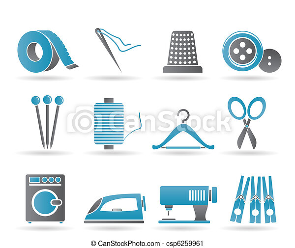 Textile objects and industry icons - csp6259961