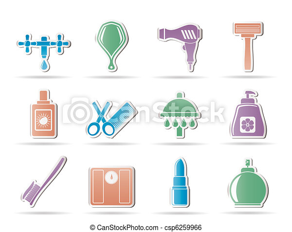 Personal care and cosmetics  icons  - csp6259966