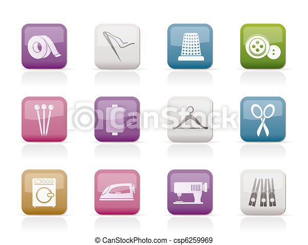Textile objects and industry icons  - csp6259969