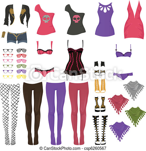Glam Rock Fashion on Vector   Female Glam Rock Clothes   Stock Illustration  Royalty Free
