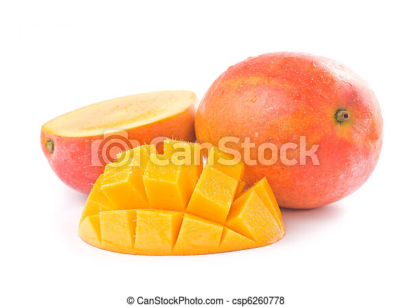 Fresh delicious mango fruit and slice - csp6260778