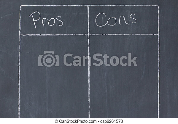 Table confronting pros and cons - csp6261573