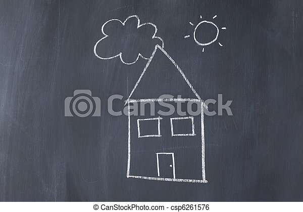 House with sun and cloud on a blackboard