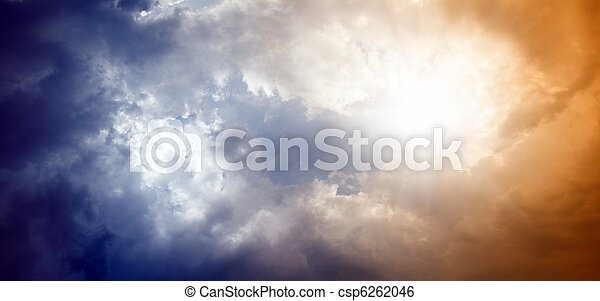 Dramatic sky with bright sun - csp6262046