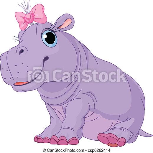 EPS vector de bebé, hipopótamo, niña, caricatura - Ilustración, de ...