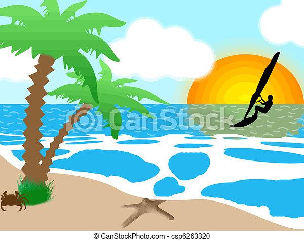 how to draw beach background