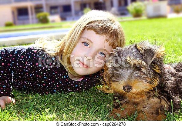 dog pet and littl girl portrait on garden grass park - csp6264278