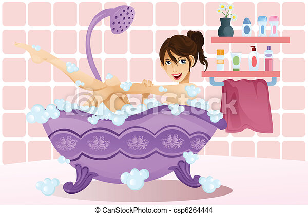 Woman taking a bubble bath - csp6264444