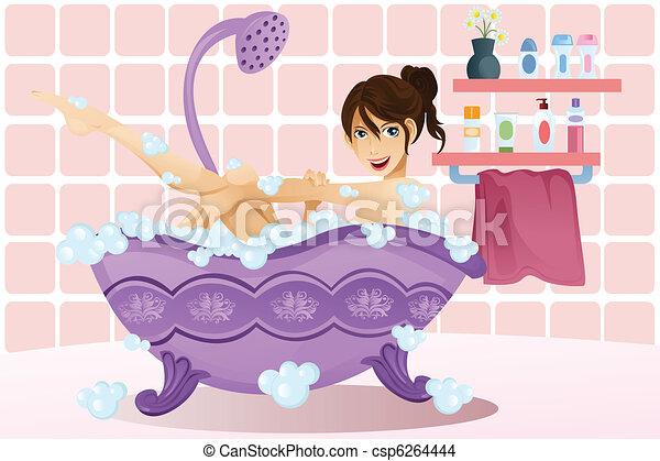 Woman taking a bubble bath - csp6264444