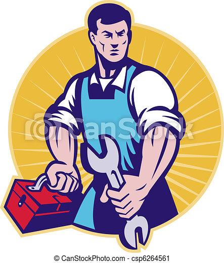 Mechaniker, werkzeugkasten, maulschlüssel, Schraubenschlüssel - csp6264561