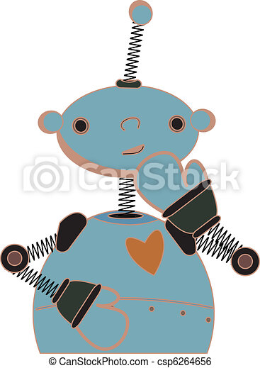 Shy blue child robot illustration - csp6264656