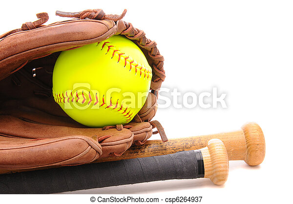 Softball Glove ball and two bats on white with copyspace - csp6264937
