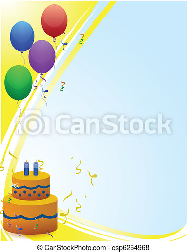 Happy birthday card with balloons  - csp6264968