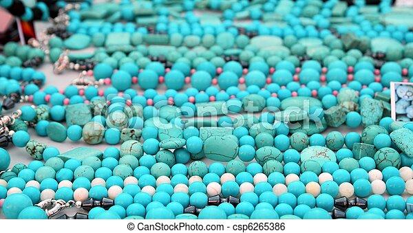 turquesa, Precioso, pedra, colar, jóia - csp6265386