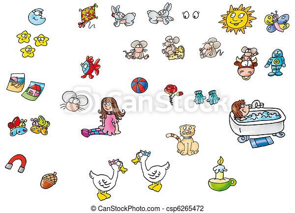 muitos, pequeno, desenhos - csp6265472