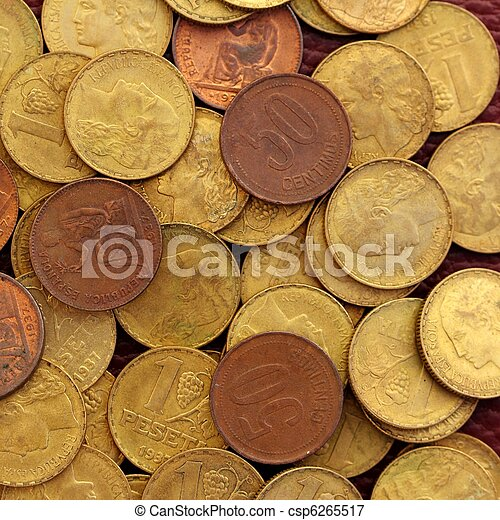antikvitet, verklig,  peseta, gammal, valuta,  1937, Republik, mynt, spanien - csp6265517
