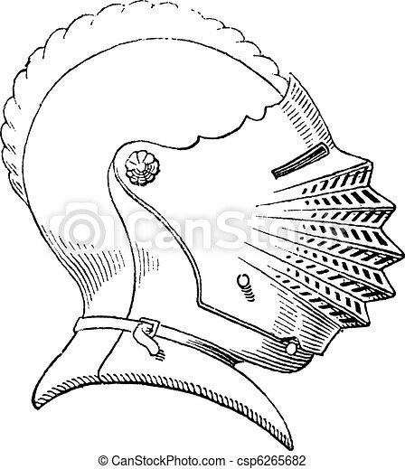 Fifteenth century helmet or galea vintage engraving - csp6265682
