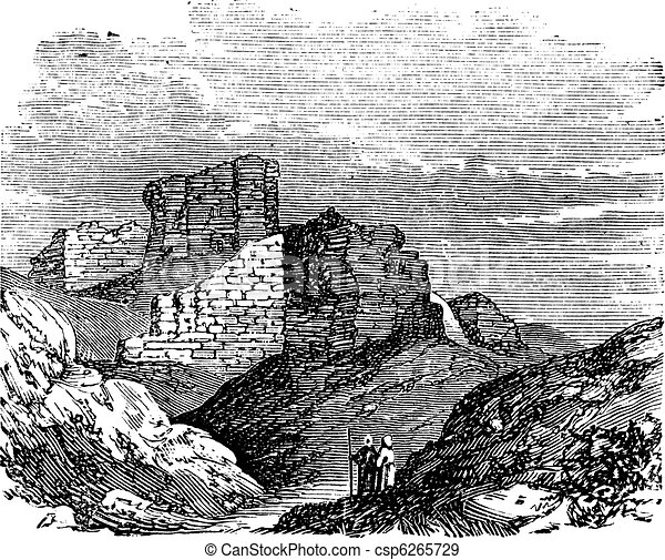 Ruins of the Main Palace in Babylonia vintage engraving. - csp6265729