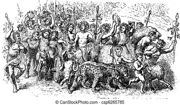 Bacchanalia, a wild and mystic festivals of the Greco-Roman god Bacchus vintage engraving. - csp6265785