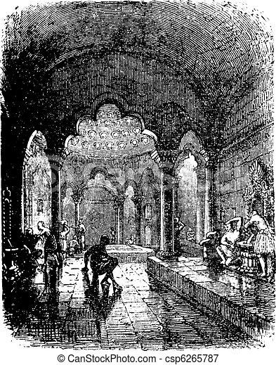 Turkish Bath vintage engraving. - csp6265787
