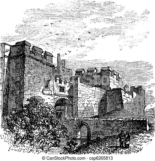 Entrance of the castle Carlisle, in Carlisle, county of Cumbria, United Kingdom vintage engraving, 1890s - csp6265813