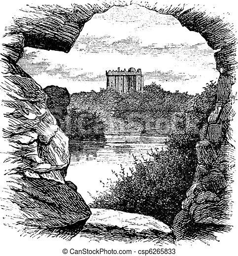 Blarney Castle, Blarney, Cork, Ireland, vintage engraving in 1890s - csp6265833