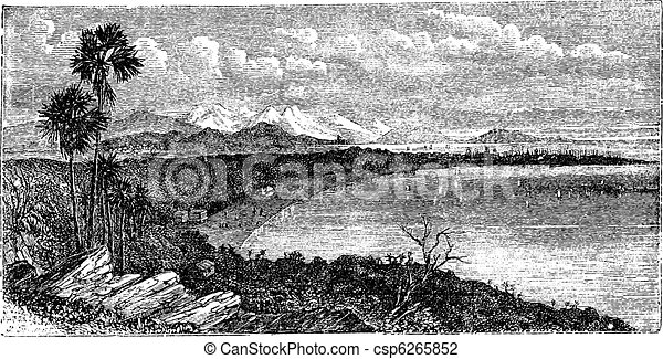 Bay of Bombay, Mumbai, India, vintage engraving. - csp6265852