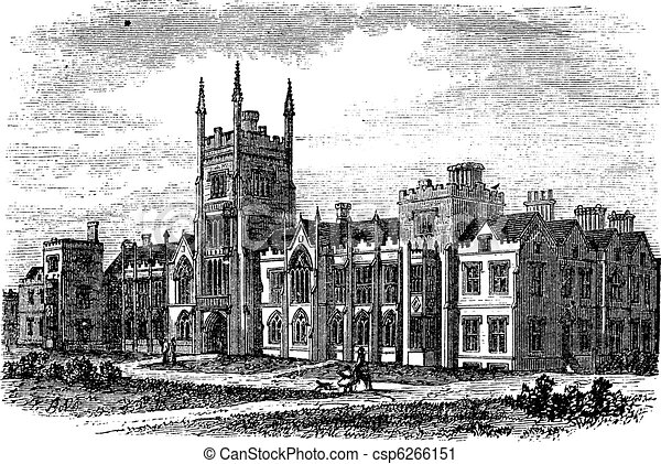 Queen's University in Belfast, Ireland, vintage engraving from the 1890s - csp6266151